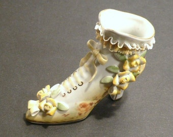 Collectible Limoges High Heel  Lace Up China Yellow Shoe