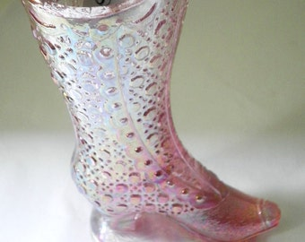 Signed Iridescent Pink Fenton Collectible Shoe Circa 1970s