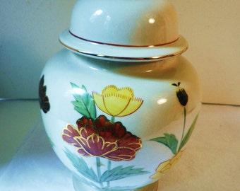 Gorgeous Numbered Floral Ginger Jar Japan