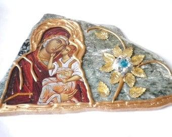 Madonna Icon On Stone Circa 1950s