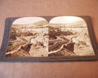 Jerusalem Steroview Card Valley of Jehoshaphat in Israel