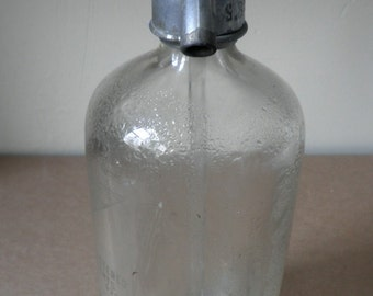 Art Deco Clear Seltzer Bottle from Brooklyn
