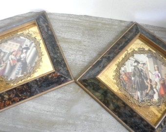 Pair Glass Frame Pictures 1800s France Circa 1950s