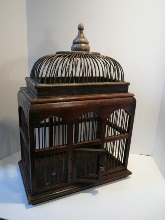 Antique Wicker Bird Cage With Removable Top