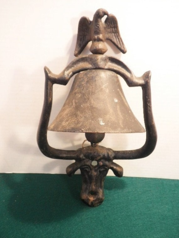 Vintage Cast Iron Wall Mounted Dinner Bell With Eagle By
