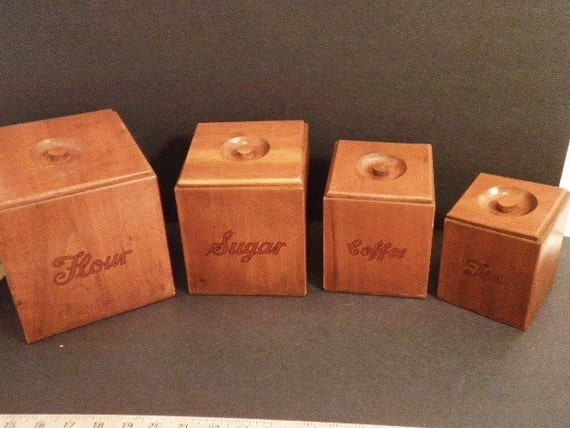 RESERVED Sher 4 Pieces Early American Wood Kitchen Canister Set Circa 1950s