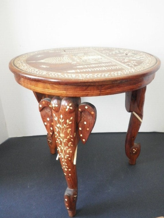 Inlaid Bone Taj Mahal Elephant Table Or Plant Stand From India