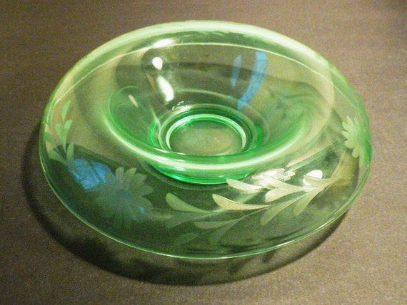 Light Green Etched Depression Glass Bowl