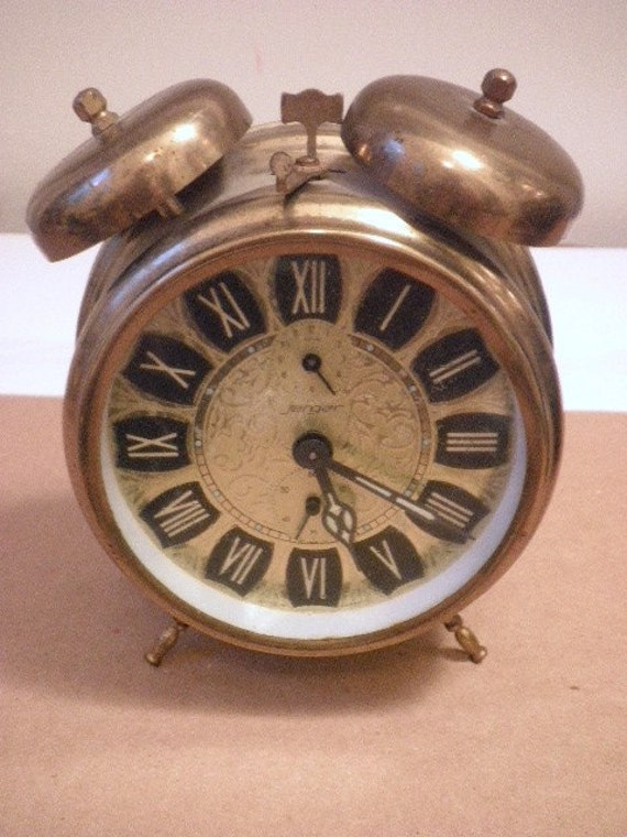 2 Brass Bell Jerger Alarm Clock Circa 1930s