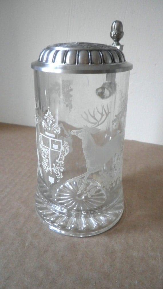 Deer Stag Glass Beer Stein Made in Germany