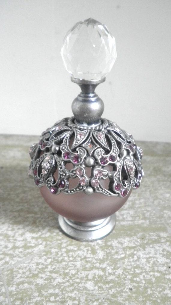 Fancy Pewter Perfume Bottle Circa 1930s