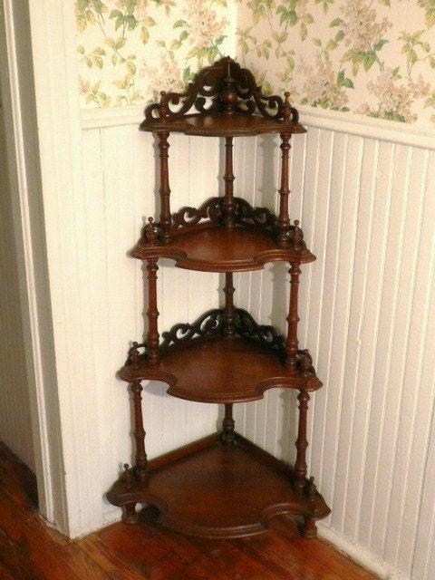 Reserved Fancy Tall 4 Tier Victorian Standing Corner Shelf