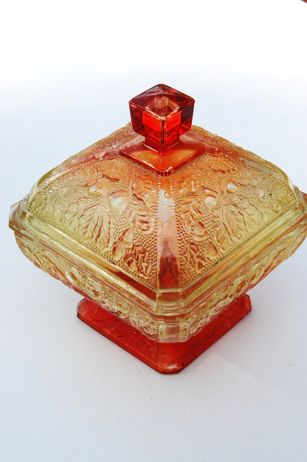 Antique Red Glass Candy Dish