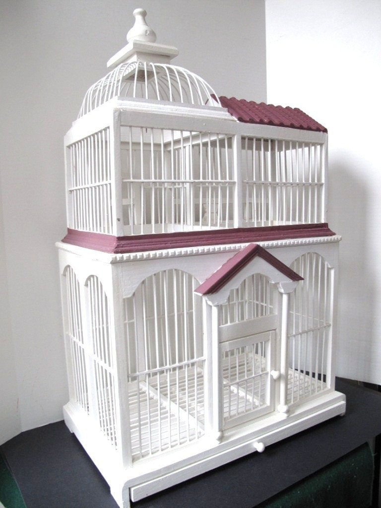 Large 2 Tier Hand Made Wooden Bird Cage