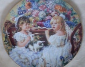 The Tea Party collector plate by Sandra Kuck  FREE SHIPPING