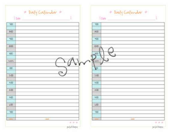 Daily calendar half size planner pdf printable template planner