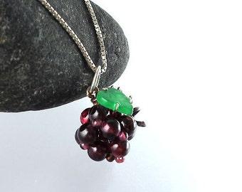 Gemstone Raspberry Berry Pendant Burgundy Red Garnet Green Jadeite Jade Sterling Silver