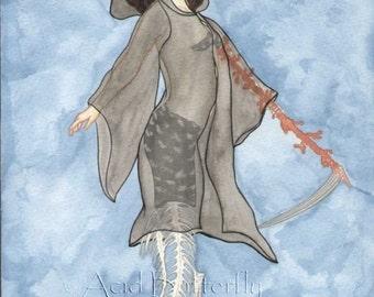 Mer-Reaper original mermaid tarot art