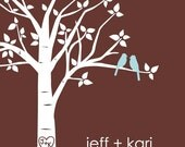 "Personalized Custom Love Birds Family Tree - 11""x14"" (Pale Blue/Dark Brown)"