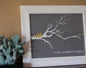 """Gift for Mom Gift for Mother In Law Personalized Love Birds Family Tree Branch - Anniversary Gift - Housewarming Gift - 11""""x14"""""""