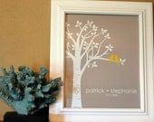 "Bridal Shower Gift - Personalized Custom Love Birds Family Tree - Wedding Gift or Anniversary Gift - 8""x10"" (Yellow/LightTaupe)"
