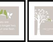 Personalized Custom Love Bird Wedding Family Tree - Birds on Branch - Custom Bible Verse - Set of 2 prints- 8x10s