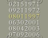 "Custom Family Birth Date and Anniversary Print - 8""x10"""