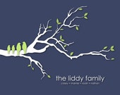 """Personalized Christmas Gift Personalized Custom Love Bird Family Tree Branch - Housewarming/Anniversary/Wedding Gift- 8""""x10"""" Poster Print"""