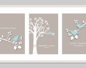 "Personalized Custom Love Birds Family Tree - Personalized Wedding or Anniversary Gift - Set of three 8""x10""s (Pale Blue/Taupe)"