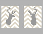 "Deer Silhouette with Chevron Zig Zag Stripes - Set of two prints -  11""x14"""