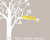 "Family Tree Gift Personalized Custom Love Birds Wedding Family Tree - Housewarming Gift - Christmas Gift - 8""x10"" (Light Taupe/Mustard))"