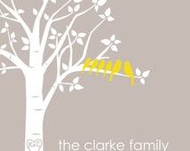 "Family Tree Gift Personalized Custom Love Birds Wedding Family Tree - Housewarming Gift - Christmas Gift - 8""x10"" (Light Taupe/Mustard))"