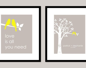 Personalized Wedding Gift Bridal Shower Gift  Custom Love Bird Wedding Family Tree - Love is All You Need - Set of 2 prints- 8x10s