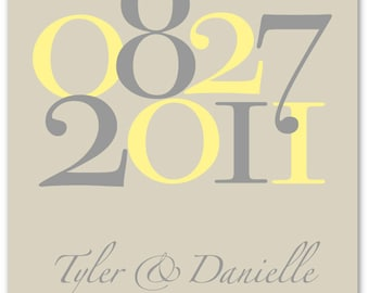 """Important Dates Wedding Gift Dates to Remember Custom Wedding Colors Anniversary or Wedding Date Print - 8""""x10"""" (Yellow/Gray/Stone)"""