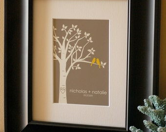 "Personalized Custom Love Birds Family Tree - Gift for Wife - Anniversary Gift - 5""x7"" (Yellow/Gray)"