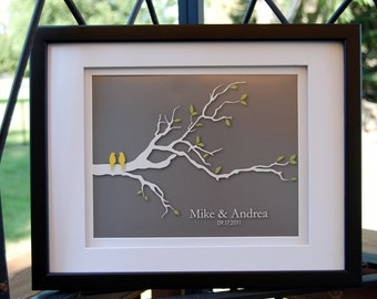 "Wedding gift - Family Tree - Personalized Custom Wedding Love Birds Tree Branch - 8""x10"" (yellow/gray)"