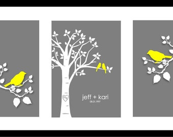 "Wedding Gifts For Couple, First Anniversary Paper Gift, Gift for Wife, Bedroom Wall Art, Gifts for Bride, Set of three 5""x7""s (Yellow/Gray)"