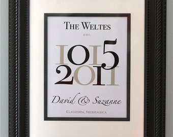 """Important Dates Wedding Gift Anniversary Gift Wedding Date Family Name Print with Wedding Location/Numbers - Custom Wedding Gift - 11""""x14"""""""