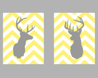"Deer Silhouette with Chevron Zig Zag Stripes - Set of two prints -  8""x10"""