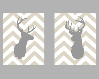 """Deer Silhouette with Chevron Zig Zag Stripes - Set of two Poster Prints -  16""""x20"""""""