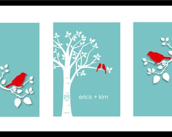 "Personalized Custom Love Birds Family Tree - Wedding Gift - Engagement or Anniversary Gift  - Set of three 5""x7""s (Red/Teal)"