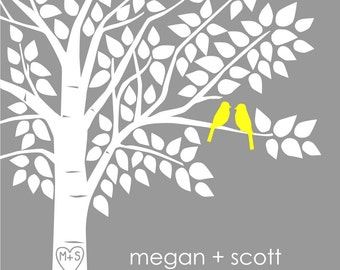 Guest Book Tree Personalized Wedding Print - 16x20 - 125 Signature Keepsake Guestbook Poster