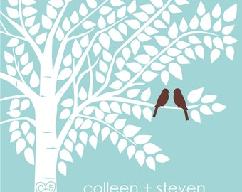 Guest Book Tree Personalized Wedding Print - 20x30 - 175 Signature Keepsake Guestbook Poster