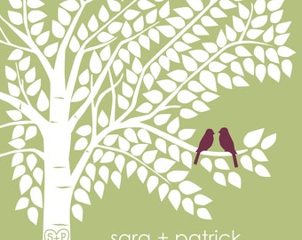Guest Book Tree Personalized Wedding Print - 16x20 - 200 Signature Keepsake Guestbook Poster