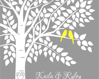 Tree Guest Book, Wedding Guestbook, Yellow and Grey Wedding, Unique Guestbook, Tree, 16x20 - 150 Signature Keepsake Guestbook Poster