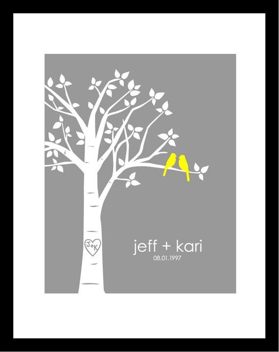 """Personalized Custom Love Birds Family Tree - 5""""x7"""" (Yellow/Gray)"""