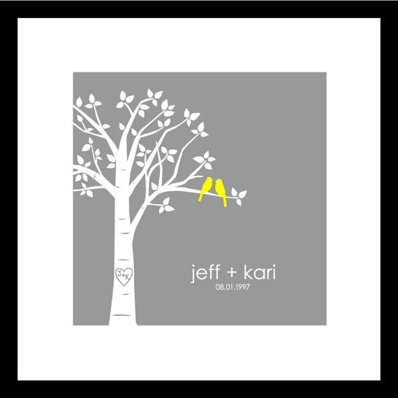 """Wedding Gift Bridal Shower Gift Paper First Anniversary Gift Personalized Custom Love Birds Wedding Tree - Square 8""""x8"""" (Yellow/Gray)"""