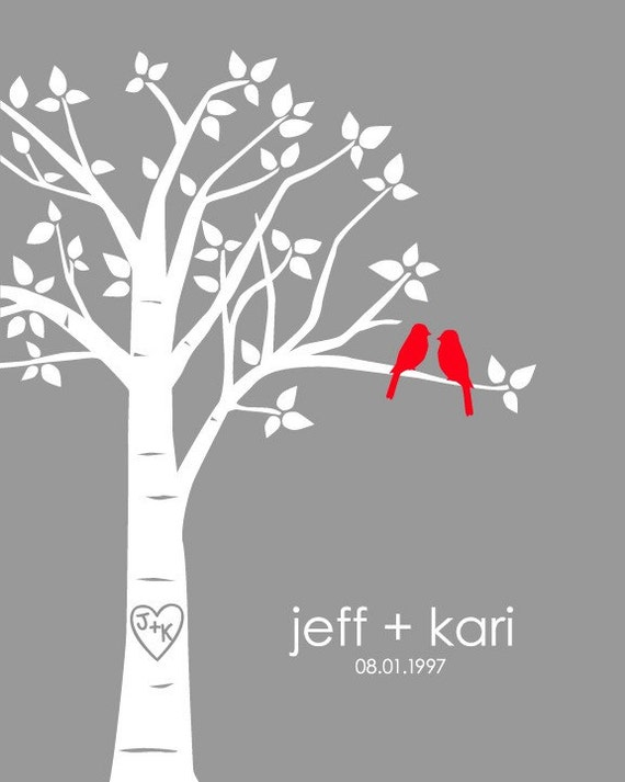 "Personalized Custom Love Birds Wedding Family Tree - Valentine's Day Gift for Wife - 8""x10"" (Red/Gray)"