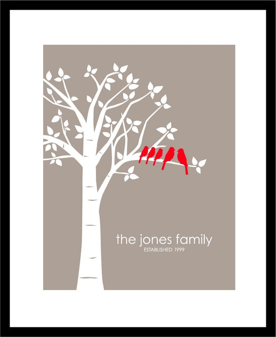 "Mother's Day Gift - Personalized Custom Love Birds Family Tree - Housewarming/Anniversary Gift - 11""x14"" (Red/Taupe)"
