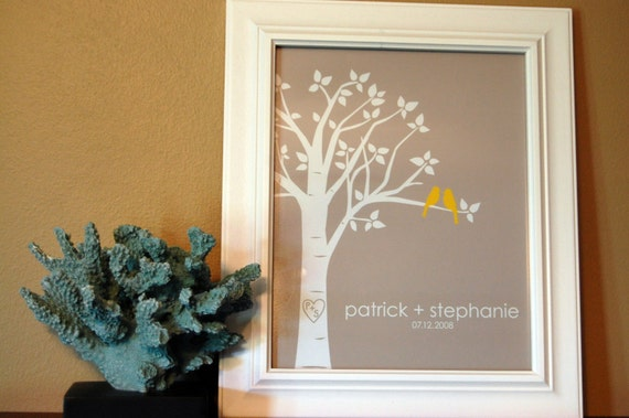 "Personalized Custom Love Birds Family Tree - Wedding or Anniversary Gift - 8""x10"" (Yellow/LightTaupe)"